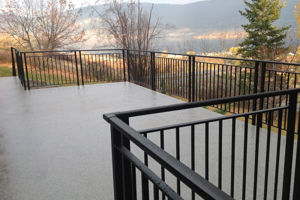 Custom Picket Rail with mid-rail in Flat Black/Designer Plus Granite Weatherdek