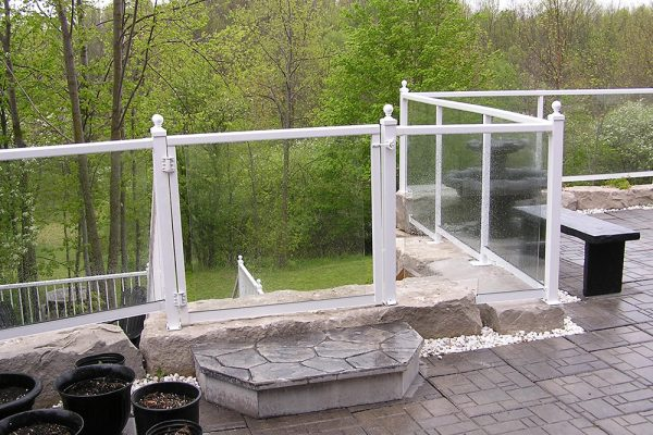 Custom Glass Rail & Gate with Ball tops in Gloss White