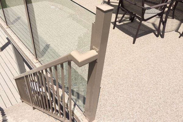 Custom Stair Rail in Oyster Grey/Designer Plus Natural Weatherdek