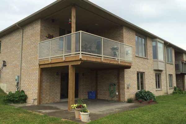 Standard Glass Rail Fascia Mounted in Railing Beige