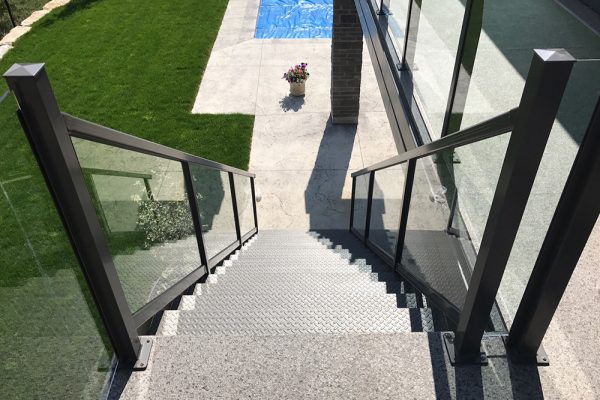 Glass Stairs in Flat Black/Signature Stone Plus Flint Weatherdek