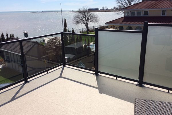 Custom Height Glass Railing in WeatherRail Tan